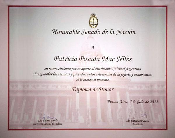 Diploma muestra El Poncho, Honorable Senado de la Nación